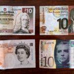 【混乱】イギリスの紙幣は銀行ごとに違う絵柄を発行。スコットランド主要銀行の紙幣。