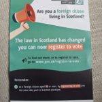 スコットランドで外国人の参政権が認められました。登録の仕方など。